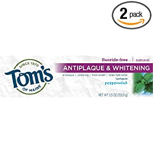 Tom's of Maine Antiplaque and Whitening Fluoride-free Toothpaste, Peppermint, 5.5-Ounce (Pack of 2)