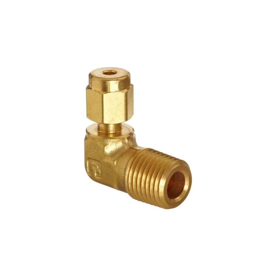 Parker A Lok 6MSEL4N B Brass Compression Tube Fitting, 90 Degree Elbow, 3/8 Tube OD x 1/4 NPT Male