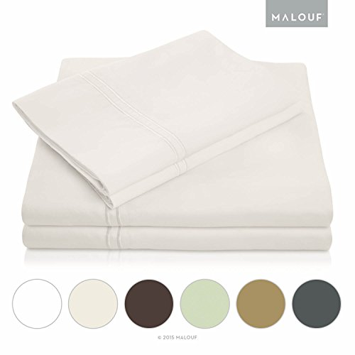MALOUF 400 Thread Count Genuine Egyptian Cotton Bed Sheet Set - Ivory - Twin (Egyptian Cotton Twin Sheets compare prices)