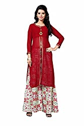 Fashions World Red Gerogette Kurti With Unstitch cotton Plazzo