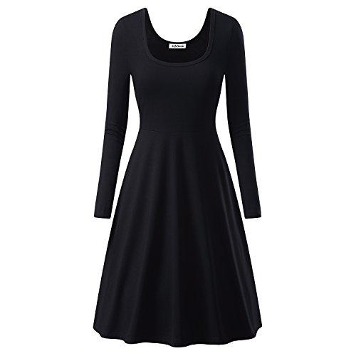 MSBASIC Women Simple Designed Long Sleeve Round Neck Casual Flared Midi Dress