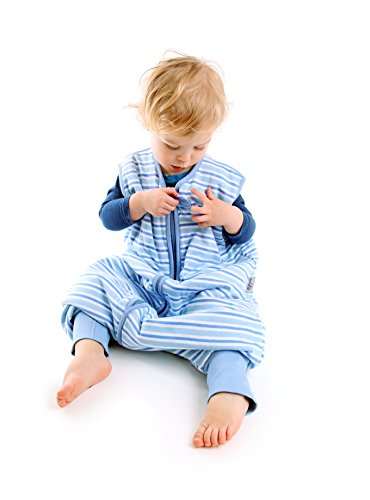 Sacco Nanna con Piedini Slumbersac Estivo per Bambino circa 1.0 Tog - Strisce Blu- 5-6 anni