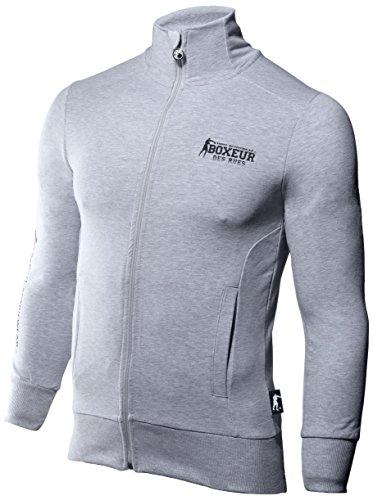 Boxeur Des Rues Fight Activewear Felpa, Uomo, Full Zip, Grey Mel, XXL