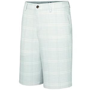 Adidas Golf Men's Climalite Neutral Plaid Shorts, Ecru/Chrome, 36-Inch