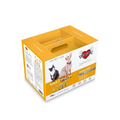 Disugual Multipack Mantenimento Sterilised Pollo 2 kg (4x500 gr) - Alimento completo in sacchetti, crocchette per gatti adulti sterilizzati