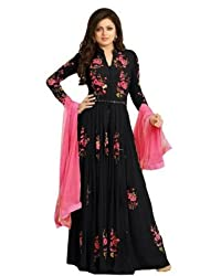 Regalia Ethnic New Collection Black Georgette Embroidered Semistitched Dress Material With Matching Dupatta