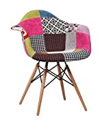 SuperStudio Set Silla 2 Uds. Wooden Arms Patchwork Edition 85.5x52x44.5 cm