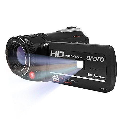 ORDRO Full HD Camcorder 1080P Video Recorder (Wi-Fi, Night Vision, 3-inch LCD, 18x Digital Zoom, Max 24.0Megapixels, CMOS Sensor) with LED Fill Light Remote Control (Black) (Vision Remote Control compare prices)