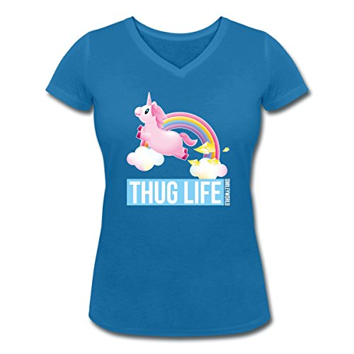 Smiley-World-Licorne-Thug-Life-Arc-En-Ciel-Tee-shirt-col-V-Femme-de-Spreadshirt