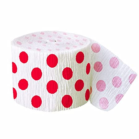 Add some jolly holiday dots to your seasonal celebrations with our roll of 30ft Red Polka Dot Crepe Streamer. Red Polka Dot Streamers are versatile party decorations with tons of creative uses for holiday decorating - twist, drape, or hang this Red P...