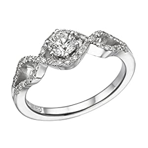 IGI Certified 14k white-gold Round Cut Diamond Engagement Ring (0.58 cttw, I Color, SI1 Clarity) - size 7