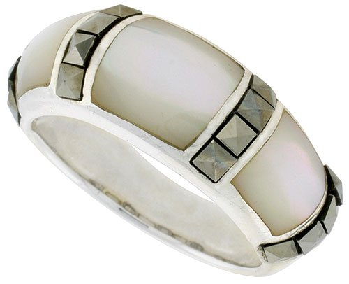 Sterling Silver Oxidized Dome Ring w/ Mother of Pearl, 5/16
