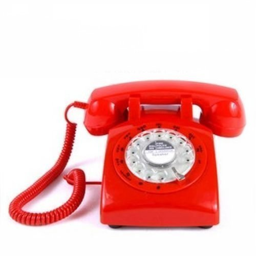 ECVISION 1960's STYLE Rotary Retro old fashioned Dial Home Telephone with Red Color (1960 Old Rotary Dial Telephones compare prices)