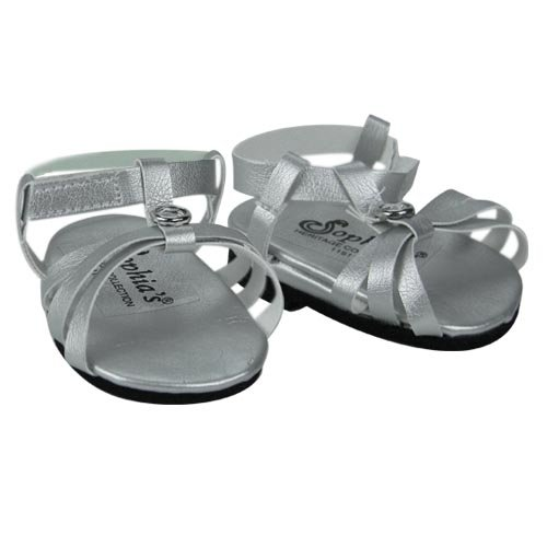 Silver Doll Sandals, Doll Shoes Fits 18 Inch American Girl Dolls, by Sophia's, Doll Silver Jeweled Strap Sandal Amazon.com