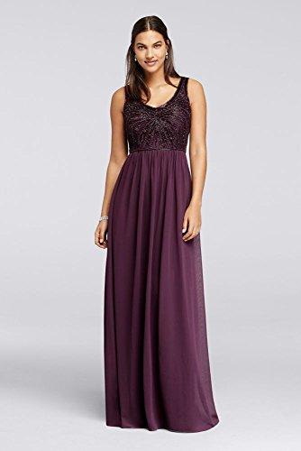 Novelty Long Bridesmaid Dress with V-Neckline and Beaded Bodice Style  W10162 71f04551b