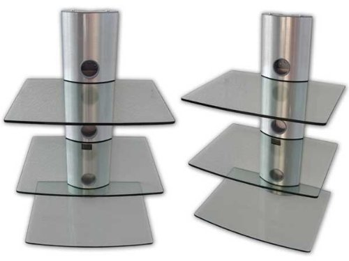 wandhalterung f r bluray dvd player mit 3 glas ablagen. Black Bedroom Furniture Sets. Home Design Ideas