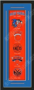 Heritage Banner Of New York Knicks With Team Color Double Matting-Framed Awesome... by Art and More, Davenport, IA