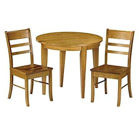Pine Extendable 3 Piece Dinette - Set Includes 1 Round Table And 2 Dining Chairs - Sturdy Construction Ensure Years Of Durability