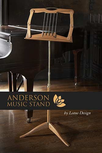 Anderson Music Stand by Lotus Design: Brazilian Cherry & Gold Anodized Aluminum