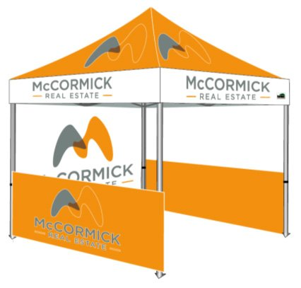 Eurmax 10 X 10 Custom Tent With Full Color Printed Graphics And Your Logo Ez Pop Up Commercial Grade Portable Booth W/Roller Bag (10X10, Premium Canopy Frame) front-1034867