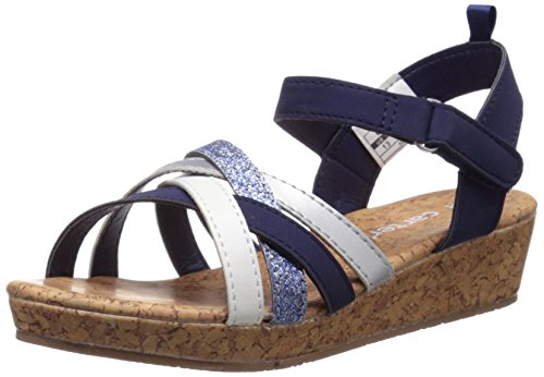 carter's Lana-C-Y Wedge Sandal (Little Kid), Navy/Silver/White, 13 M US Little Kid