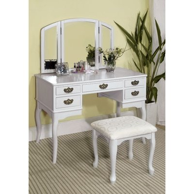 Madera Vanity Table With Matching Stool Finish: White
