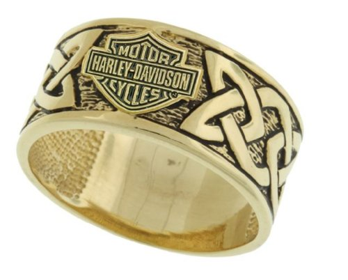 Harley-Davidson® Stamper® Men's Size-11 Solid 10K Gold Celtic Ring Band. RG7303