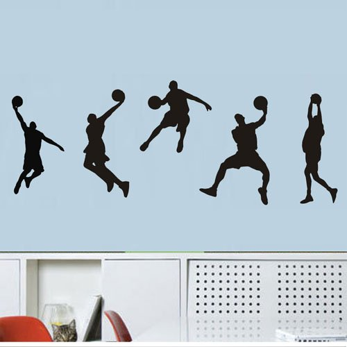 """Colorfulhall 23.6 """" X 39.4"""" Sport Basketball Shoot Player Boy Kids Nba Games Wall Sticker Mural Wall Quote Art Decal Sticker Decor Mural Diy Vinyl Lettering Saying Home Room Boys Girl Room Bedroom Decoration front-565025"""