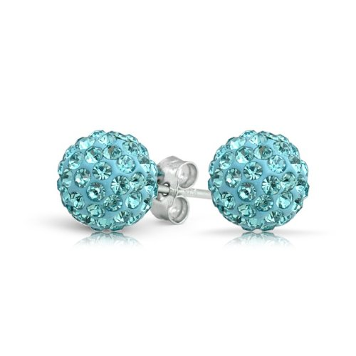 Bling Jewelry Aquamarine Color Crystal Shamballa Inspired Stud Earrings 8mm