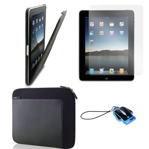 (Black Carbon Cover) Apple iPad skin silicone case / leather case for iPad 3G cover neoprene sleeve case accessory bundle + screen protector + MiniSuit LCD Cleaner