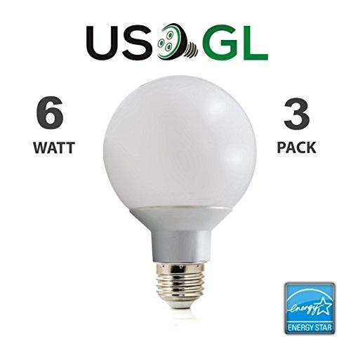 LED G25 Vanity Globe Light Bulb - DIMMABLE - 6W (40 Watt Equivalent) Warm White (2700K) Shatter Resistant Energy Star E26 Base 450 Lumens, 3 Pack (40 Watt Bathroom Lightbulbs compare prices)