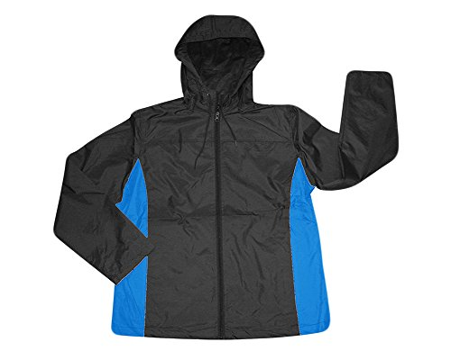 Men's i5 lightweight Hooded Windbreaker Jacket,Large,Black/Bright Blue