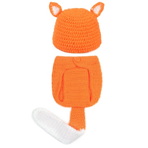 Young Baby Fox Pattern With Orange Hat And Orange Pants Suit Tail front-162523
