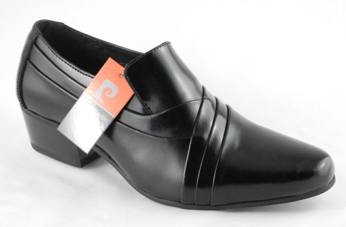 Mens Pierre Cardin Black Leather Slip On Cuban Heels Shoes Size 6 7 8 9 10