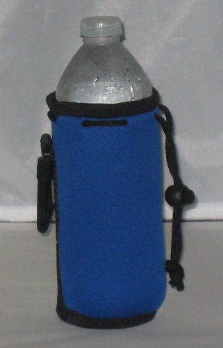 Water Bottle Koozie With Drawstring & Clip, Royal front-686590