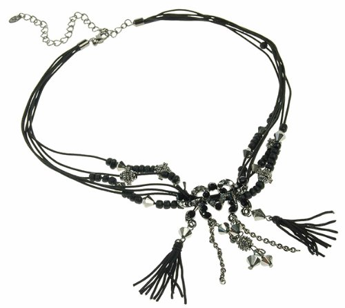 Under $15, Great Gift Idea Buy 2 Get 1 Free On This Style: Casual Womens Necklace & Earrings Jewellery Set With Beads And Tassels. Topaz Swarovski & Czech Crystals, On Layered Waxed Cords. Black Option Also Available As Necklace. Great Christmas Gift