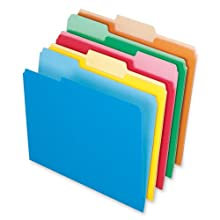 Pendaflex 1521/3ASST Pendaflex 2-Tone File Folders, 1/3 Cut, Top Tab, Letter, 4 Asst Colors, 100/Box