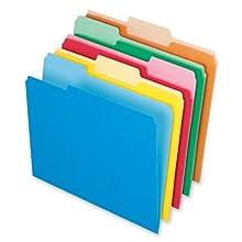 Pendaflex 1521/3ASST Pendaflex 2-Tone File Folders, 1/3 Cut, Top Tab, Letter, 5 Asst Colors, 100/Box
