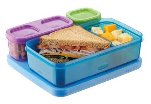 Rubbermaid 1866737 Lunchblox Kid'S Flat Lunch Box Kit, Blue/Orange/Green Color: Blue/Orange/Green Toy, Kids, Play, Children