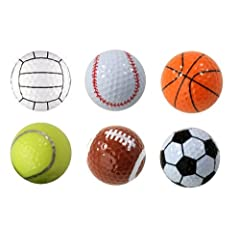 Buy Assorted Designed Golf Balls (Soccer, Basketball, Football, Tennis, Baseball, Volleyball) - 6 balls in a box by Pro Active Sports