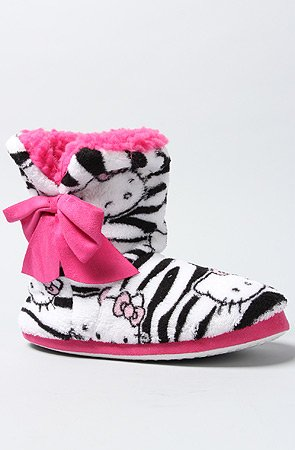 Hello Kitty faces Zebra Print Bootie Slippers Adult (Adult - Small 5-6)