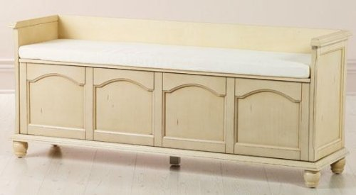 Harwick 60w Lift Top Storage Bench With Fabric Seat 60w Ivory