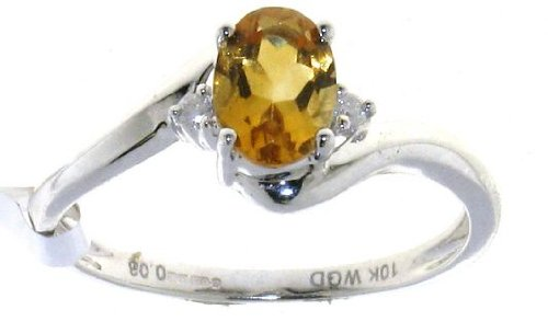 Stylish 9 ct White Gold Women Channel Set Diamond Ring Brilliant Cut 0.03 Carat with Citrine