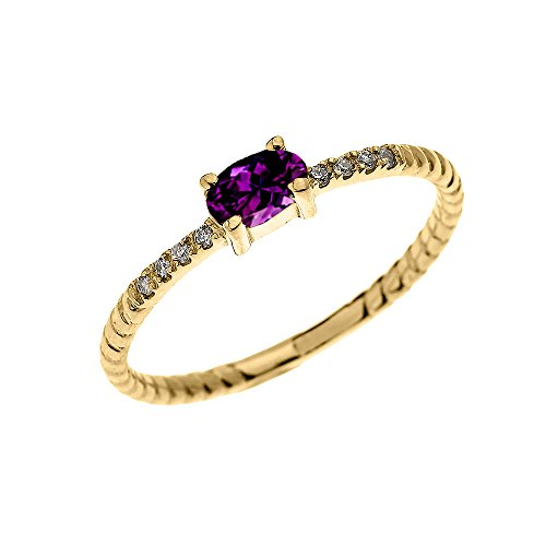 Dainty-10k-Yellow-Gold-Diamond-and-Solitaire-Oval-Amethyst-Rope-Design-StackableProposal-Ring-Size-95