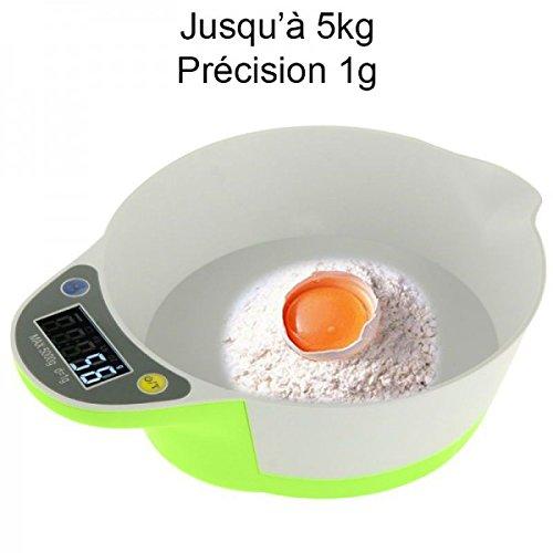 Balance de cuisine électronique bol récipient culinaire 1g à 5kg vert