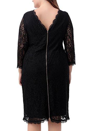 Nemidor Women's 3/4 Sleeves Plus Size Cocktail Party Midi Lace Dress (14W, Black)
