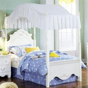 Cute Twin Size Solid White Canopy Top Fabric