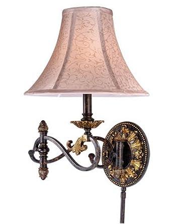 Vaxcel USA CAWLS001WA Caesar 1 Light Swing Arm Wall Lamp Lighting Fixture in Bronze, Silk
