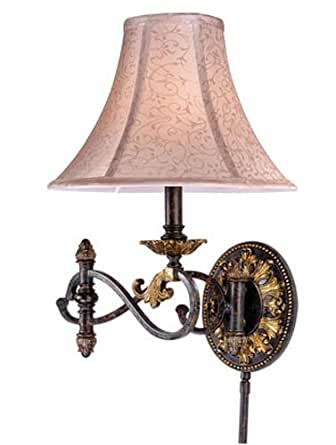 Vaxcel USA CAWLS001WA Caesar 1 Light Swing Arm Wall Lamp Lighting Fixture in Bronze, Silk - Wall ...