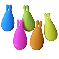 Amgate Rabbit-shaped Silicone Tea Bag Holder for Cup Mug Set of 5 Multi-colored